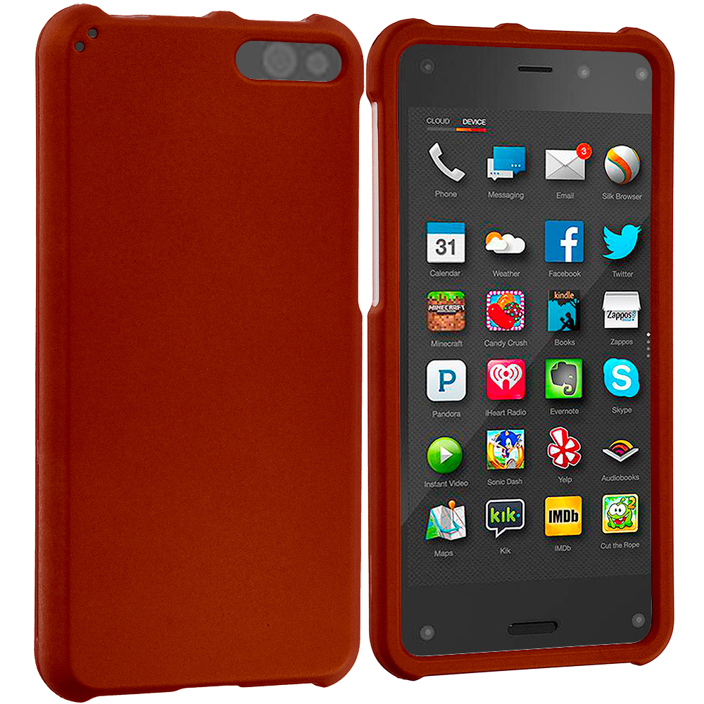 Amazon Fire Phone Red Hard Rubberized Case Cover