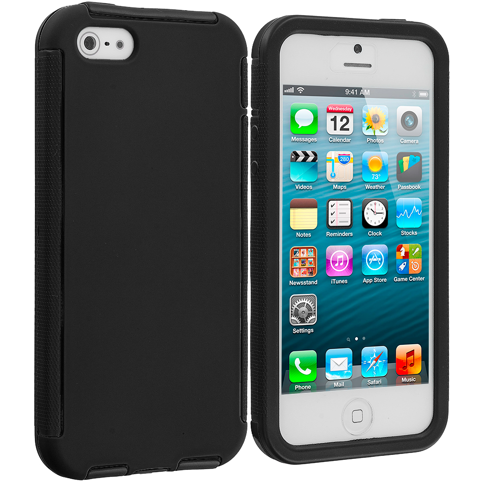 Apple iPhone 5 / 5S Black / Black Hybrid Hard TPU Shockproof Case Cover With Built in Screen Protector