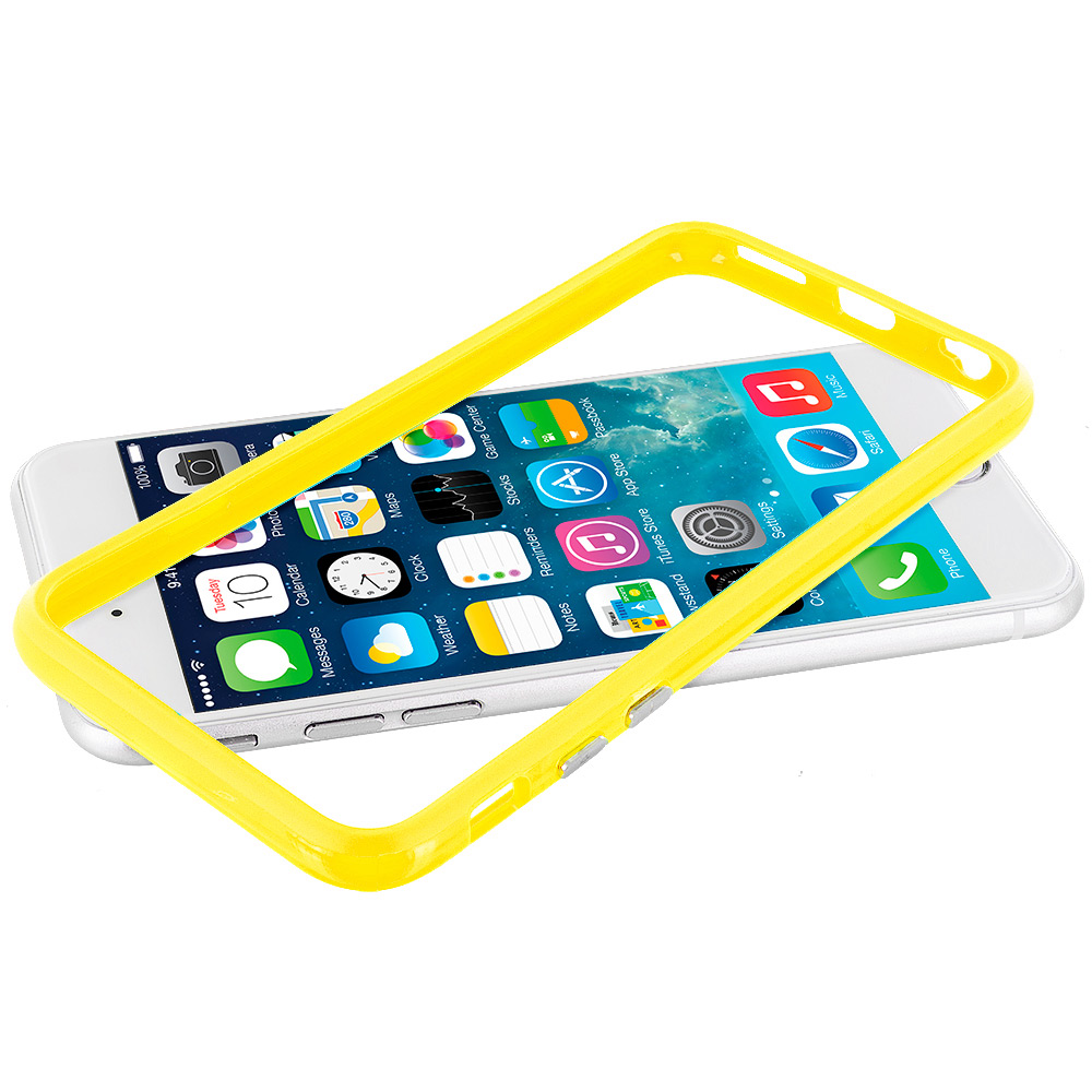 Apple iPhone 6 Plus 6S Plus (5.5) Yellow TPU Bumper Frame with Metal Buttons
