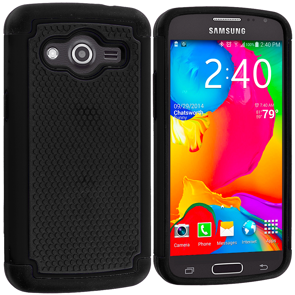 Samsung Galaxy Avant G386 Black / Black Hybrid Rugged Grip Shockproof Case Cover