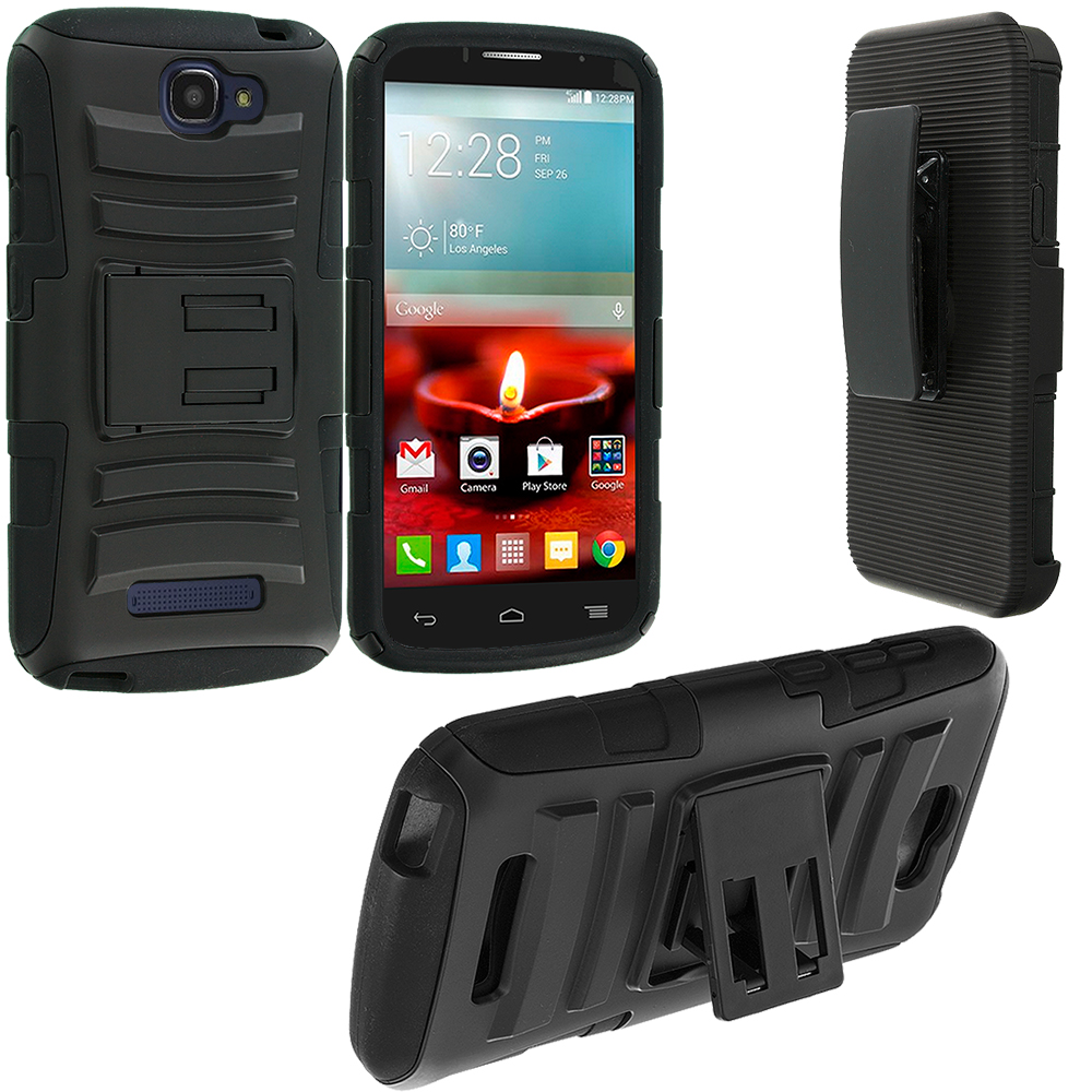Alcatel One Touch Fierce 2 7040T Black Hybrid Heavy Duty Rugged Case Cover with Belt Clip Holster