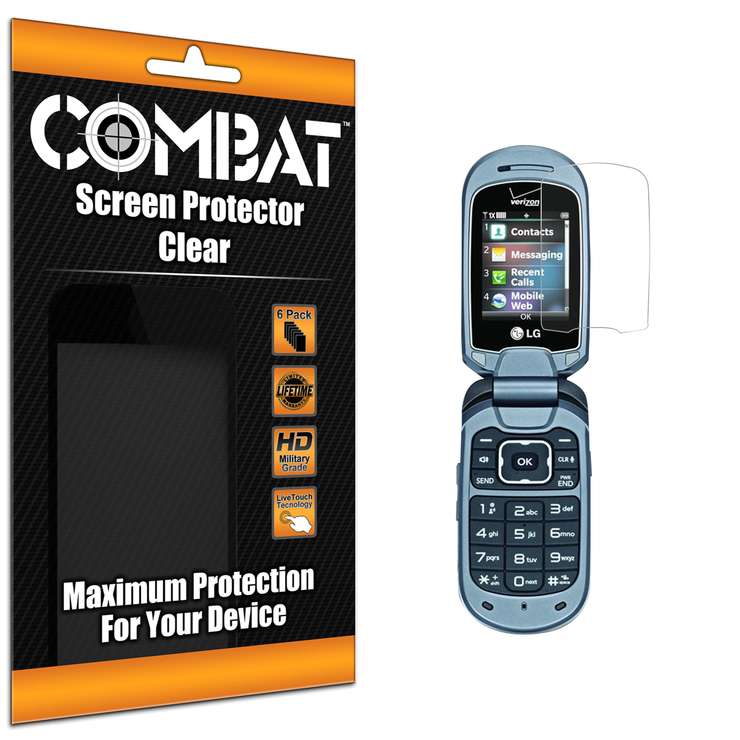 LG Revere 3 Combat 6 Pack HD Clear Screen Protector