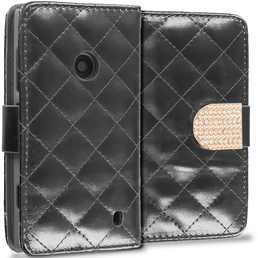 Nokia Lumia 520 Black Luxury Wallet Diamond Design Case Cover With Slots