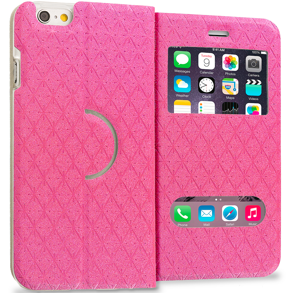 Apple iPhone 6 Plus 6S Plus (5.5) Hot Pink Slim Hard Wallet Flip Case Cover With Double Window