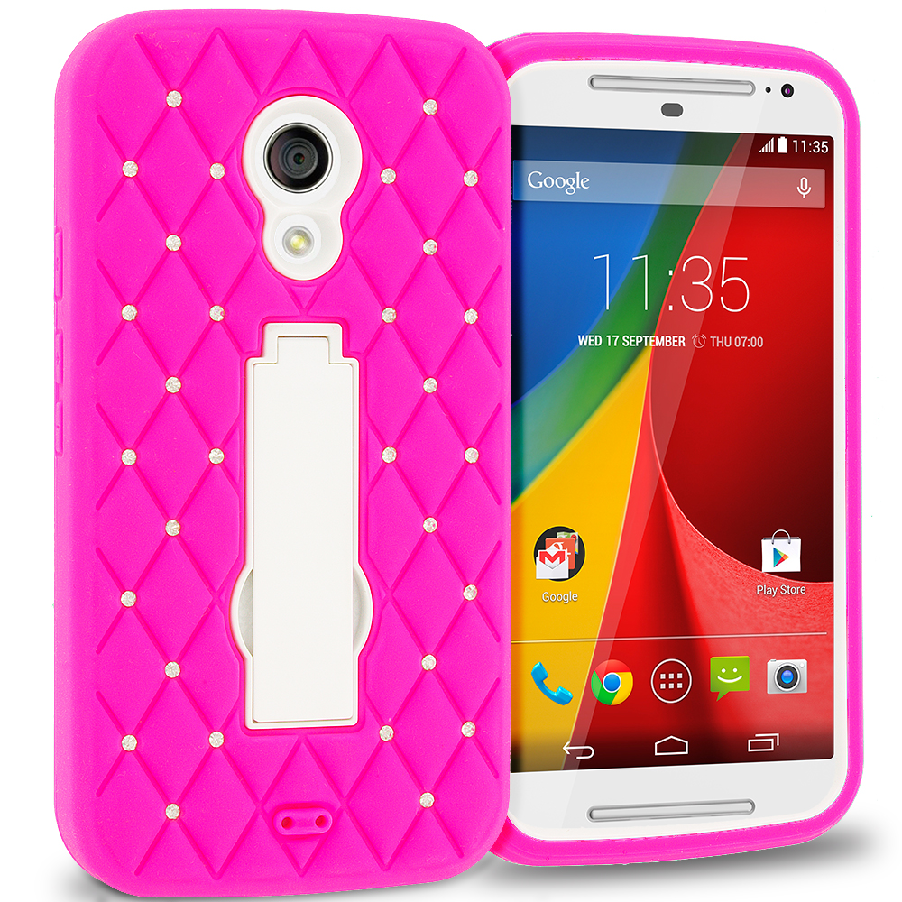 Motorola Moto G 2nd Gen 2014 Hot Pink / White Hybrid Diamond Bling Hard Soft Case Cover with Kickstand