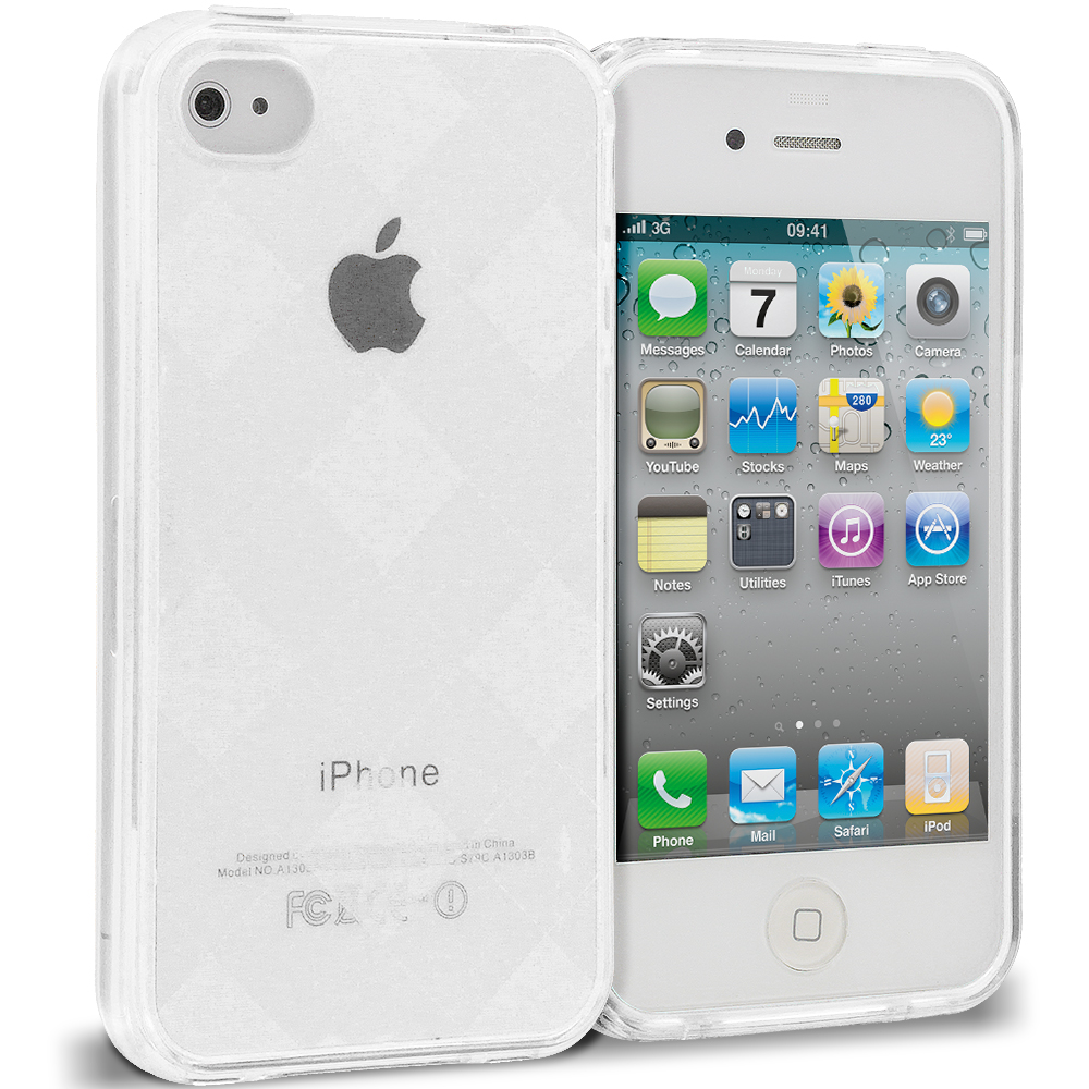 Apple iPhone 4 / 4S Clear Diamond TPU Rubber Skin Case Cover