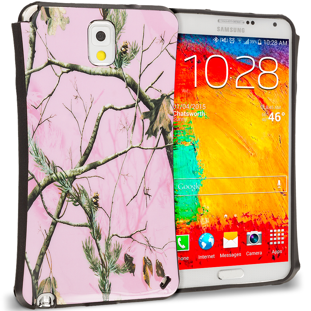Samsung Galaxy Note 3 N9000 Hot Pink Tree Hybrid TPU Hard Soft Shockproof Drop Proof Case Cover