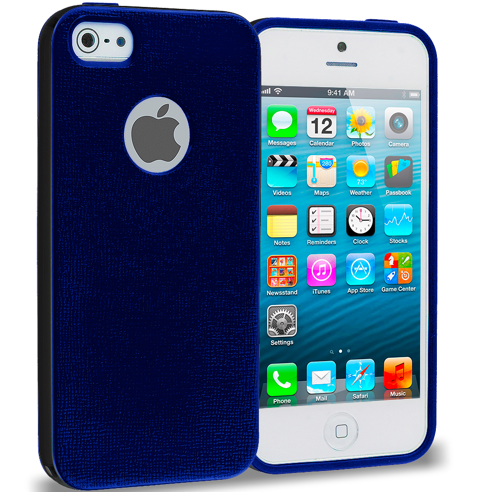 Apple iPhone 5/5S/SE Blue / Black Hybrid TPU Bumper Case Cover