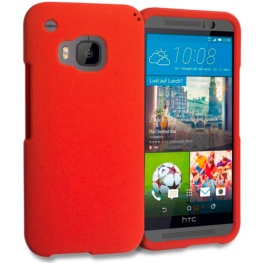 HTC One M9 Orange Hard Rubberized Case Cover