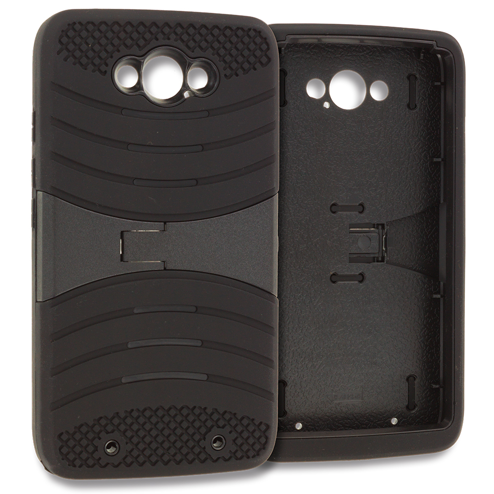 Motorola Droid Turbo Black / Black Hybrid Heavy Duty Shockproof Case Cover with Stand