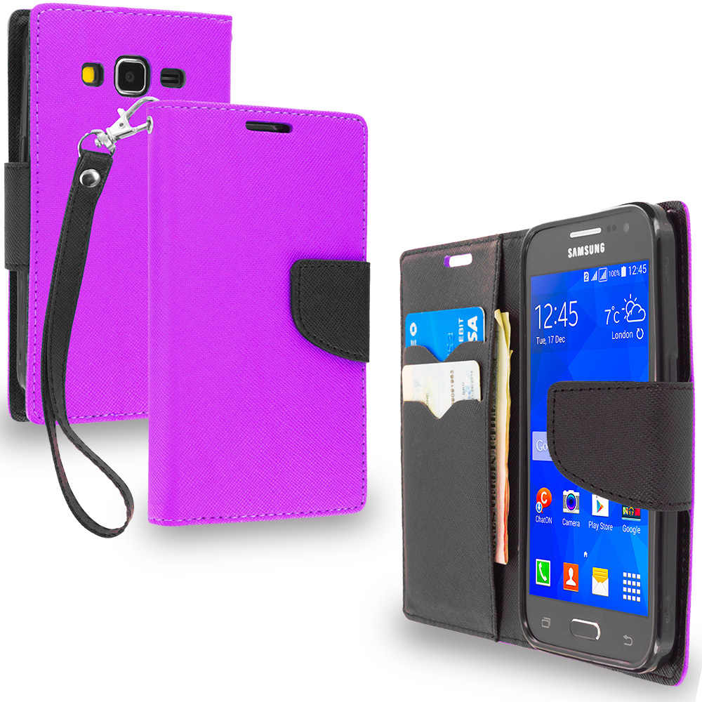 Samsung Galaxy Prevail LTE Core Prime G360P Purple / Black Leather Flip Wallet Pouch TPU Case Cover with ID Card Slots
