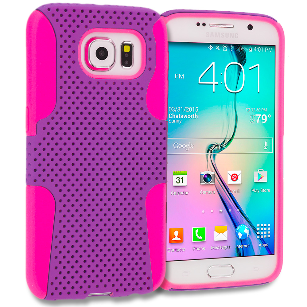 Samsung Galaxy S6 Combo Pack : Baby Blue / Hot Pink Hybrid Mesh Hard/Soft Case Cover : Color Hot Pink / Purple