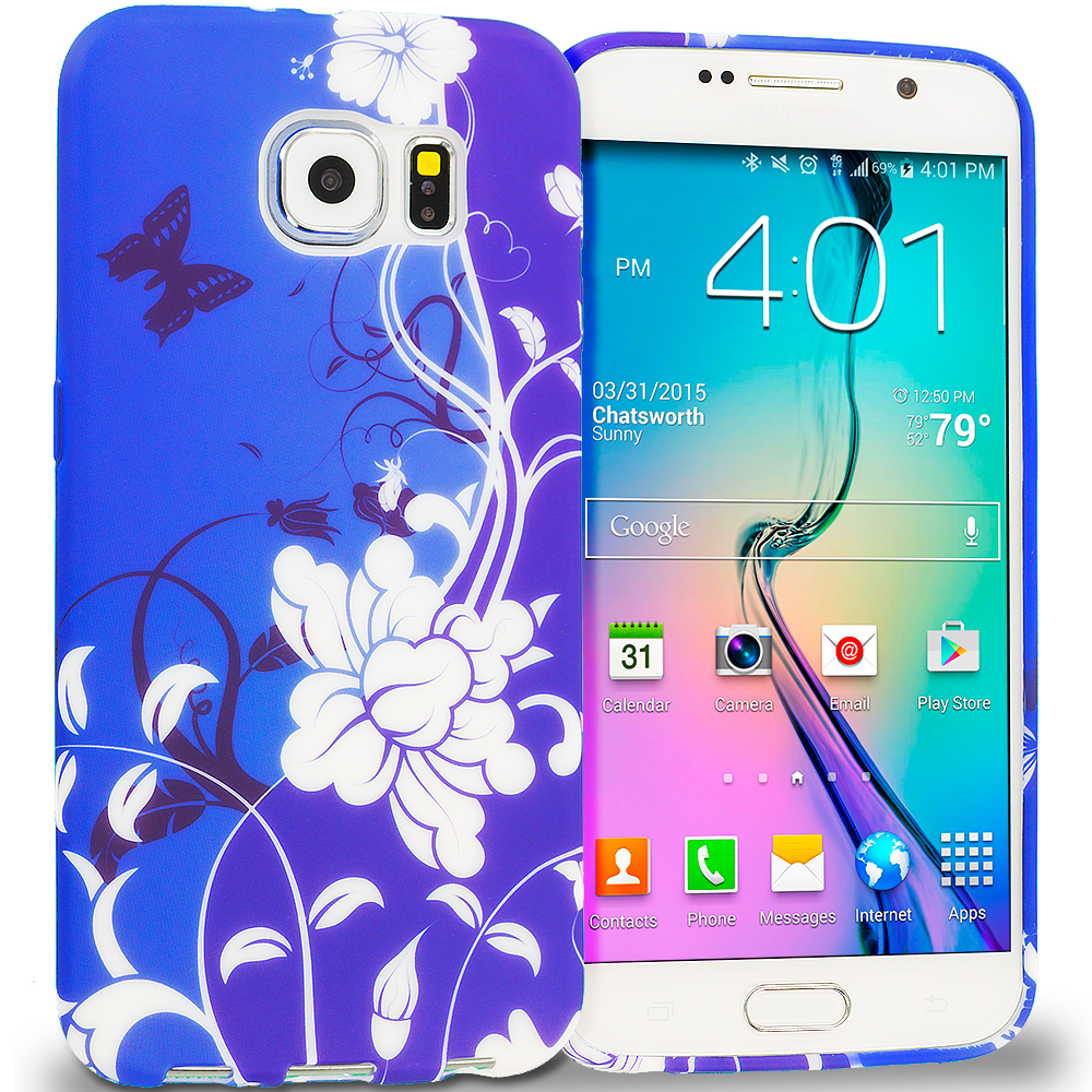 Samsung Galaxy S6 Blue White Flower Butterfly TPU Design Soft Rubber Case Cover