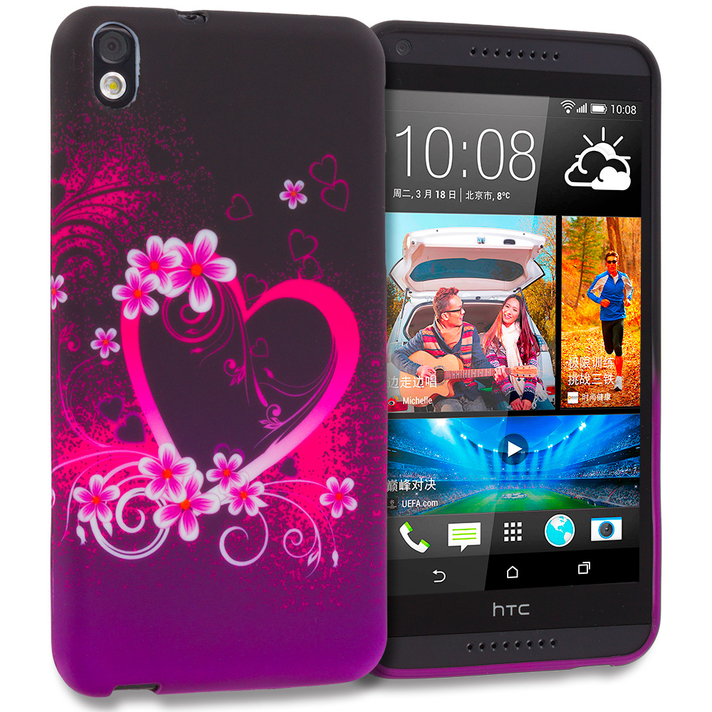 HTC Desire 816 Purple Love TPU Design Soft Rubber Case Cover
