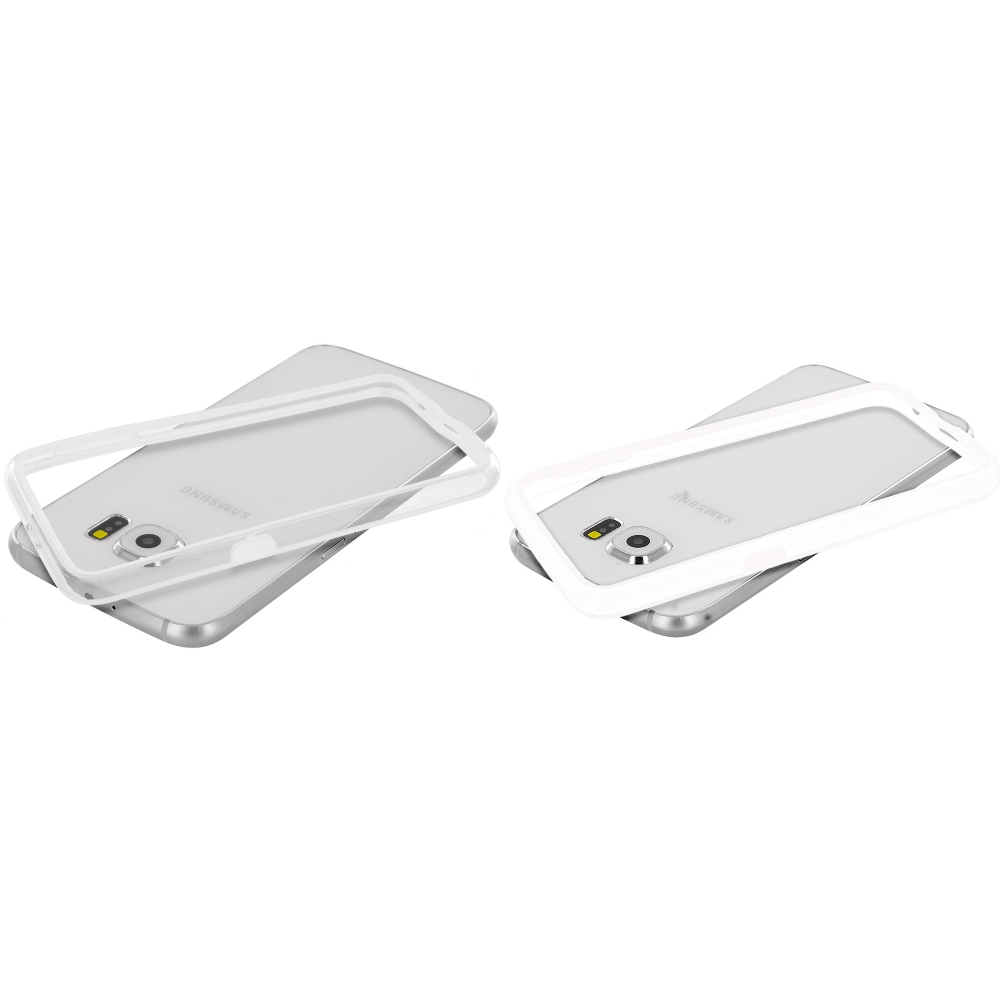 Samsung Galaxy S6 Combo Pack : White / Clear TPU Bumper Frame Case Cover
