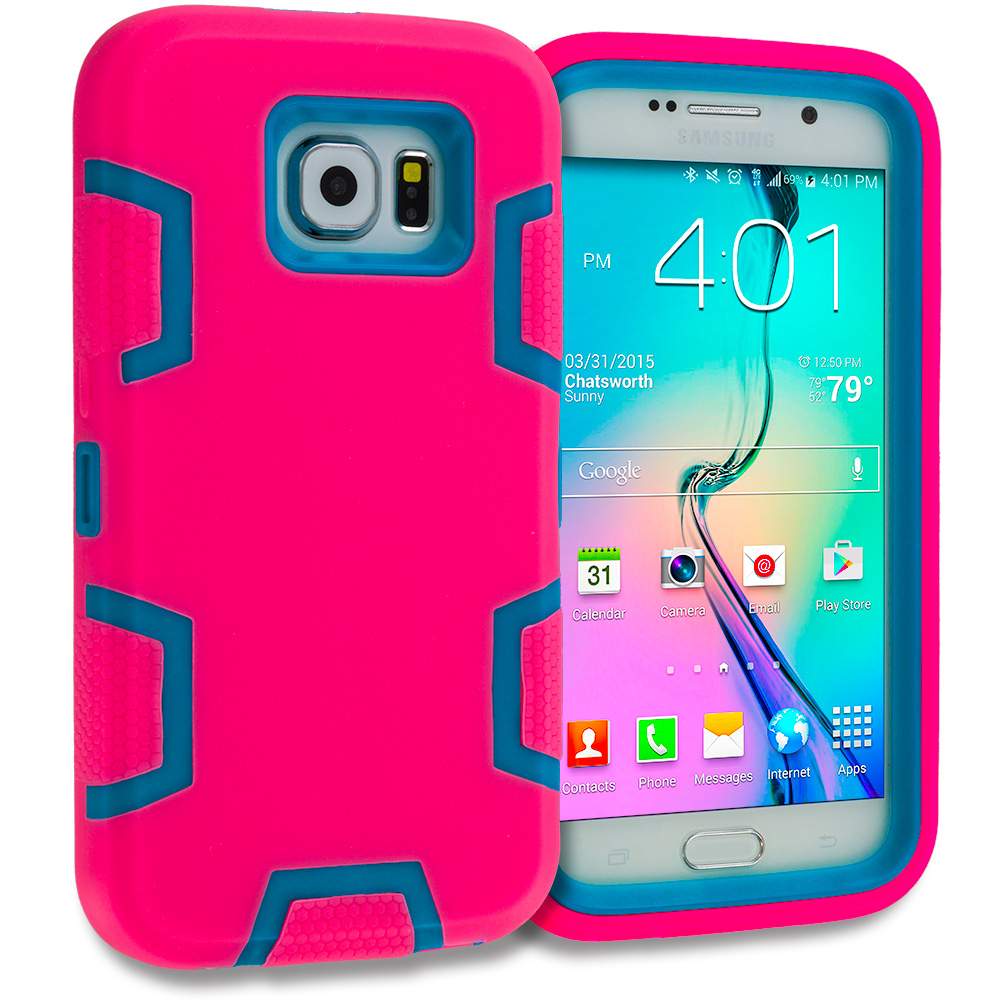 Samsung Galaxy S6 3 in 1 Combo Bundle Pack - Hybrid Defender Heavy Duty Shockproof Armor Hard Soft Case Cover : Color Hot Pink / Baby Blue