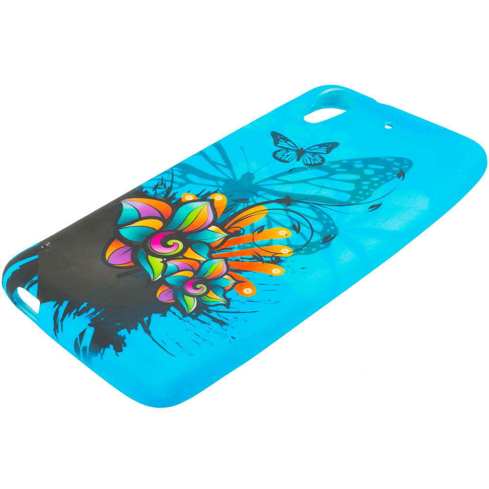 HTC Desire 626 / 626s Blue Butterfly Flower TPU Design Soft Rubber Case Cover