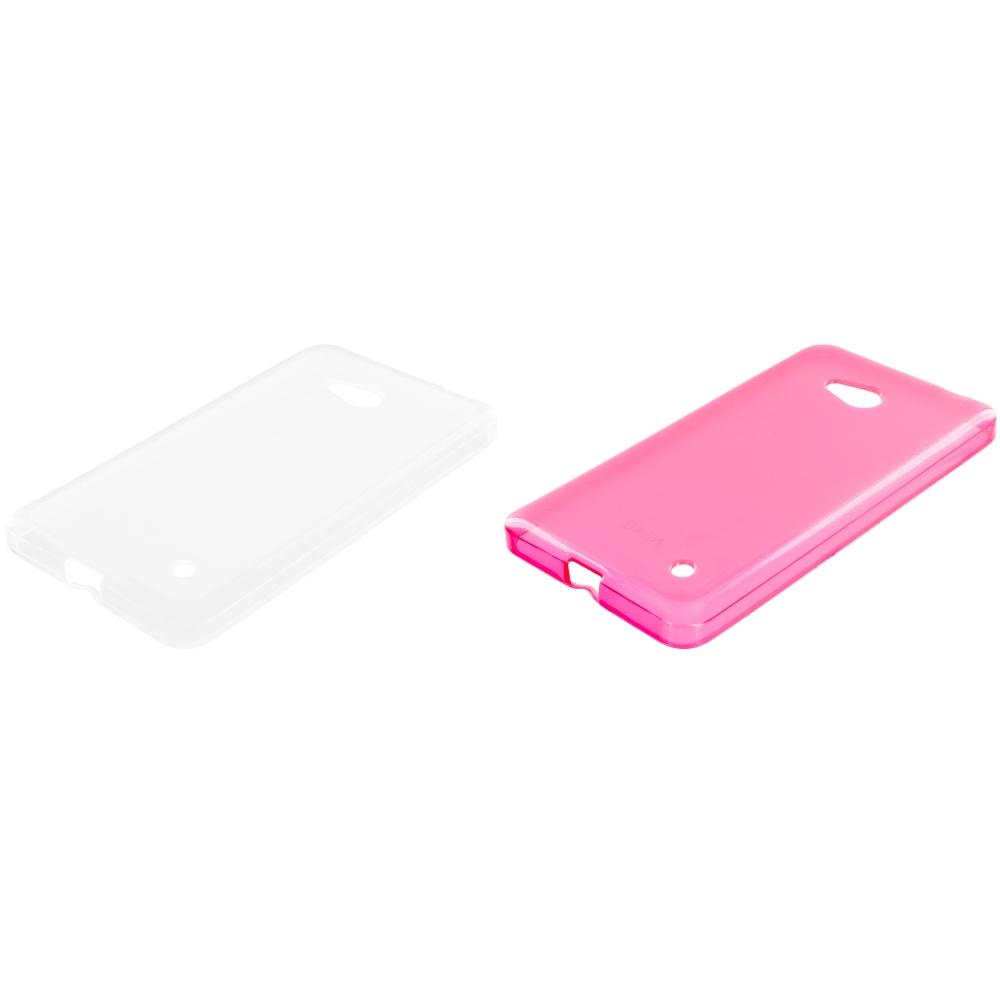 Microsoft Lumia 640 2 in 1 Combo Bundle Pack - Clear TPU Rubber Skin Case Cover