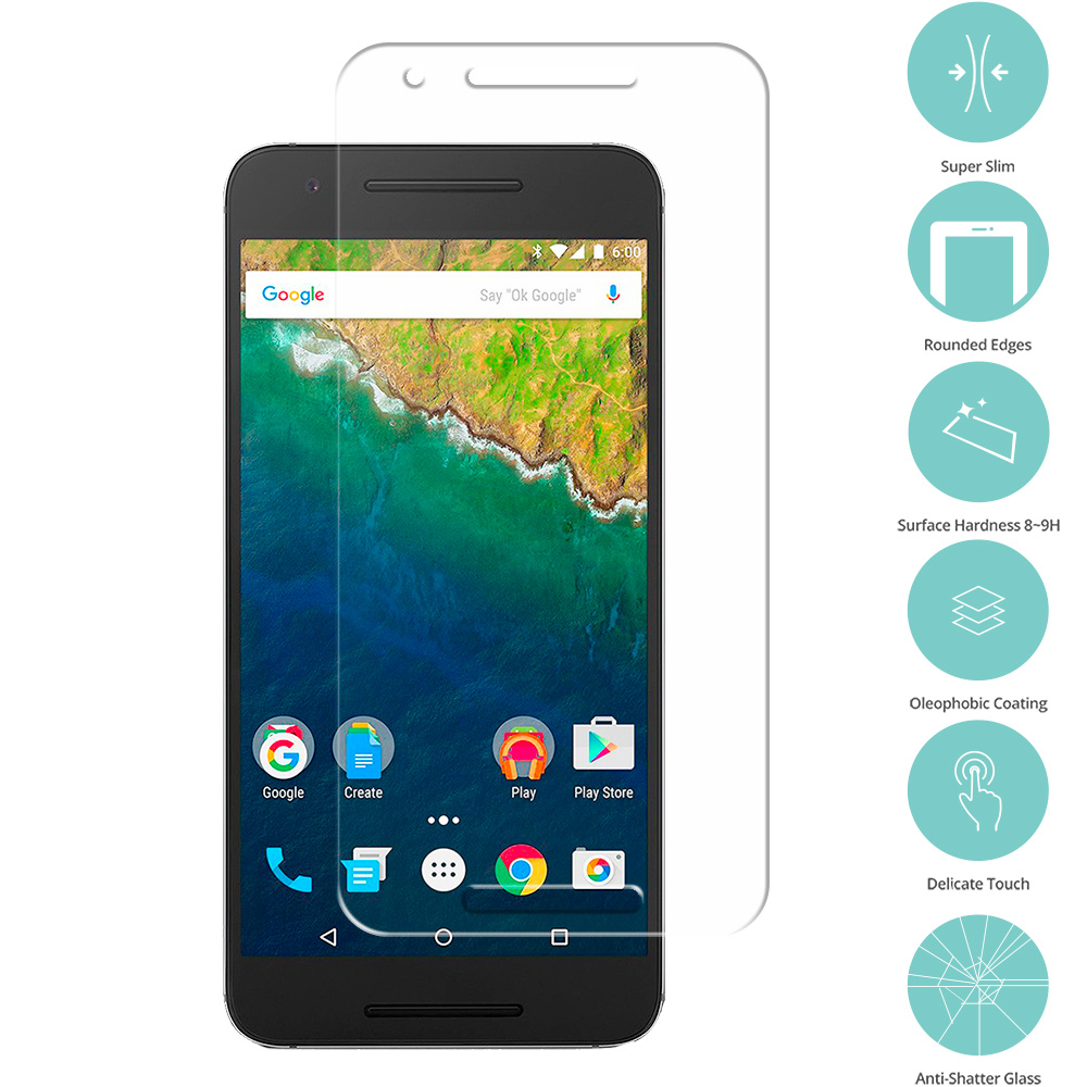 Huawei Google Nexus 6P Clear Tempered Glass Film Screen Protector Clear