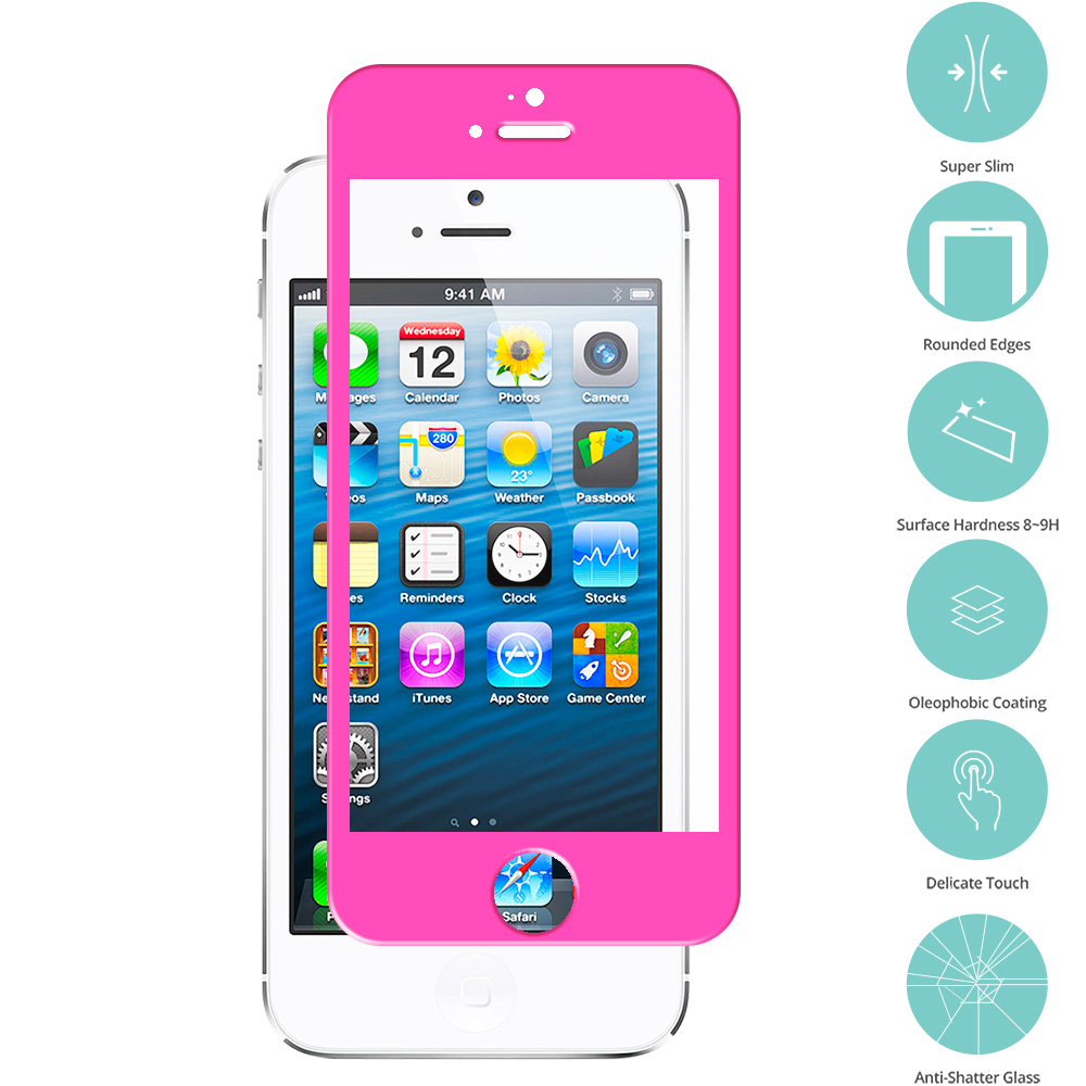 Apple iPhone 5 / 5S / 5C Combo Pack : Baby Blue Tempered Glass Film Screen Protector Colored : Color Hot Pink