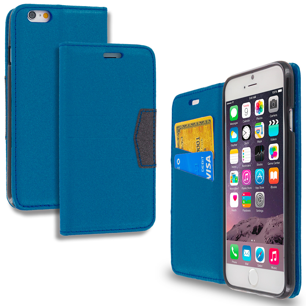 Apple iPhone 6 6S (4.7) Navy Blue Wallet Flip Leather Pouch Case Cover with ID Card Slots