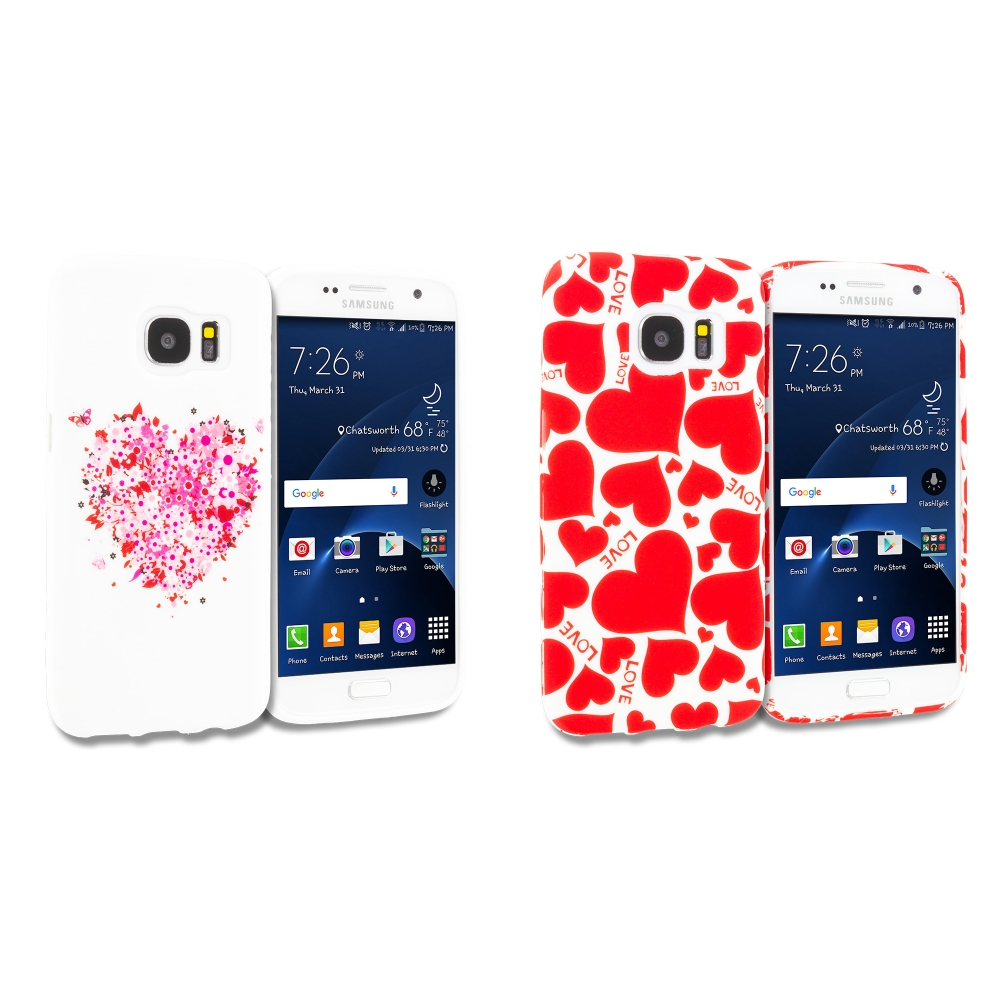Samsung Galaxy S7 Combo Pack : Hearts Full of Flowers on White TPU Design Soft Rubber Case Cover