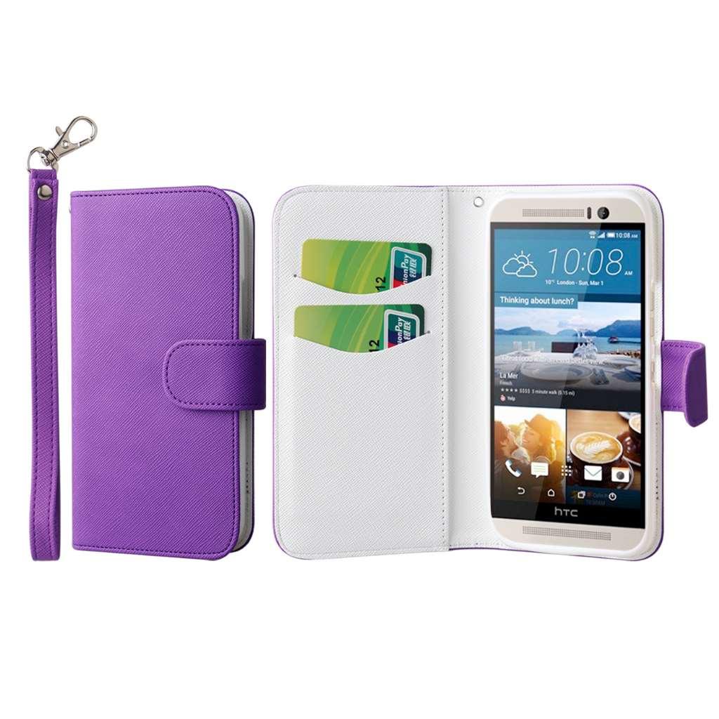HTC One M9 - Purple MPERO FLEX FLIP Wallet Case Cover