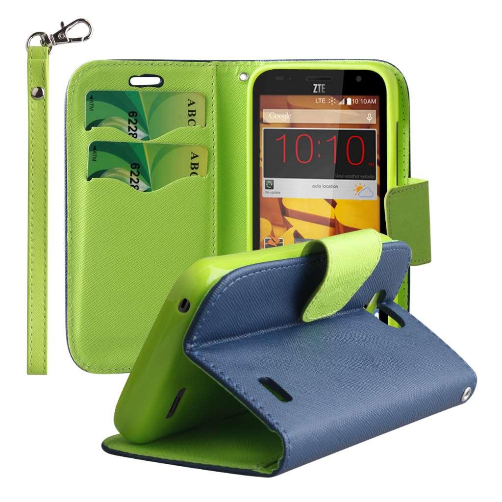 ZTE Speed - Blue / Neon Green MPERO FLEX FLIP 2 Wallet Stand Case Cover