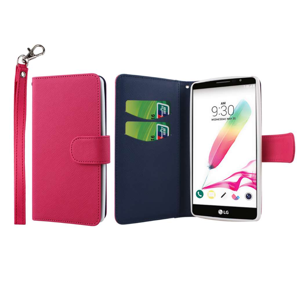 LG G Stylo - Hot Pink MPERO FLEX FLIP Wallet Case Cover