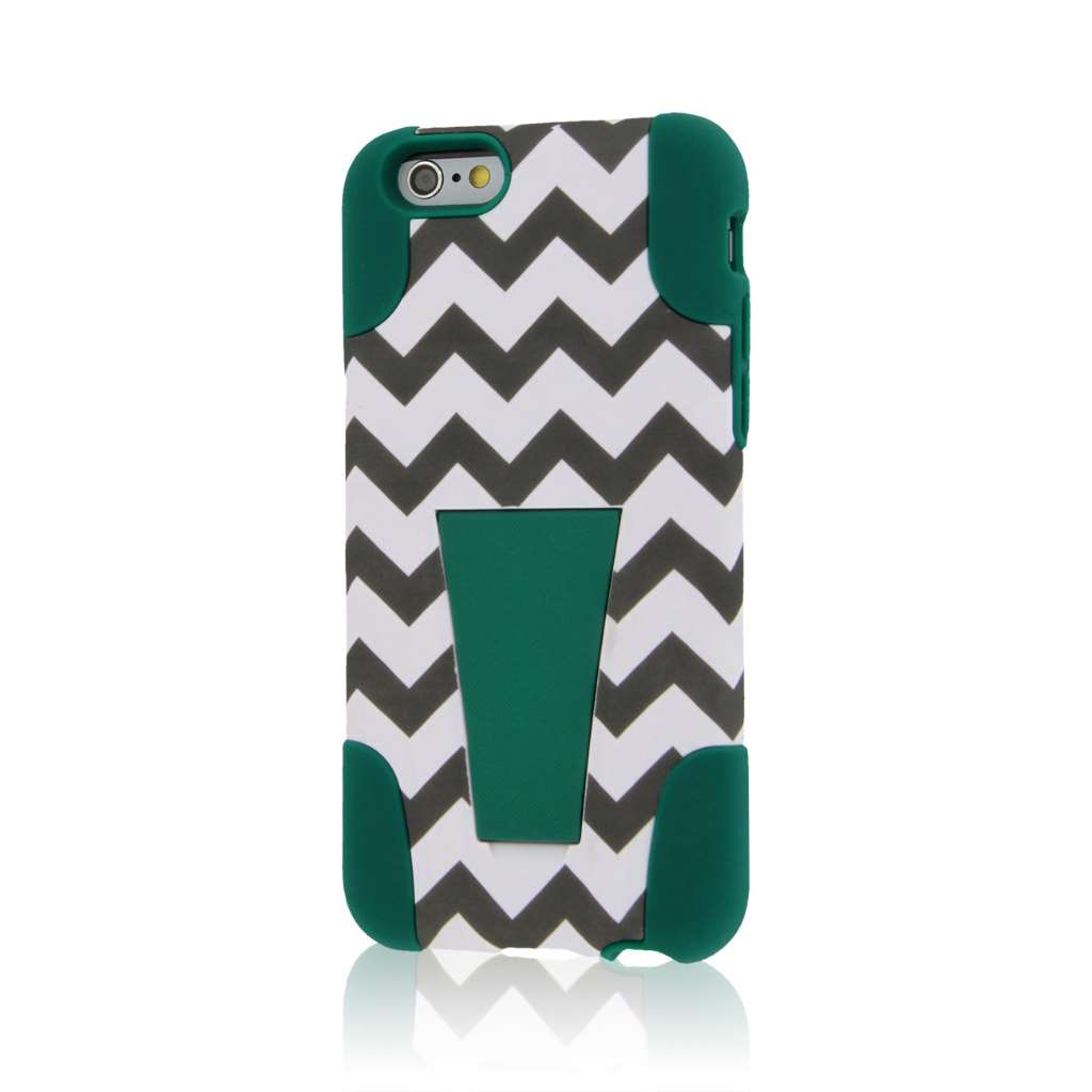 Apple iPhone 6/6S - Teal Chevron MPERO IMPACT X - Kickstand Case Cover