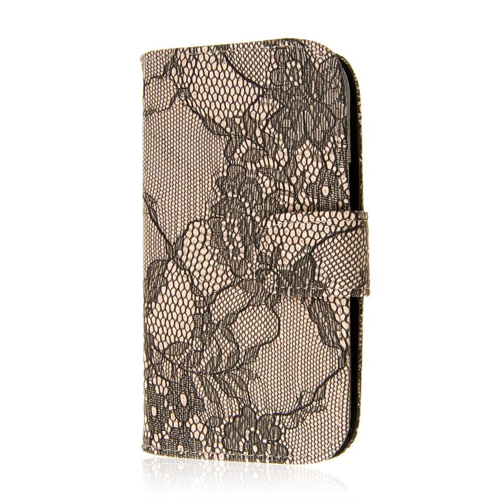 ZTE Grand S Pro - Black Lace MPERO FLEX FLIP Wallet Case Cover
