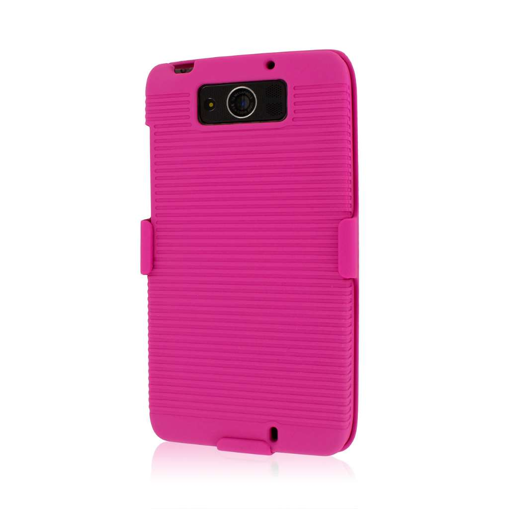 Motorola DROID ULTRA XT1080 MPERO 3 in 1 Tough Hot Pink Kickstand Case Cover