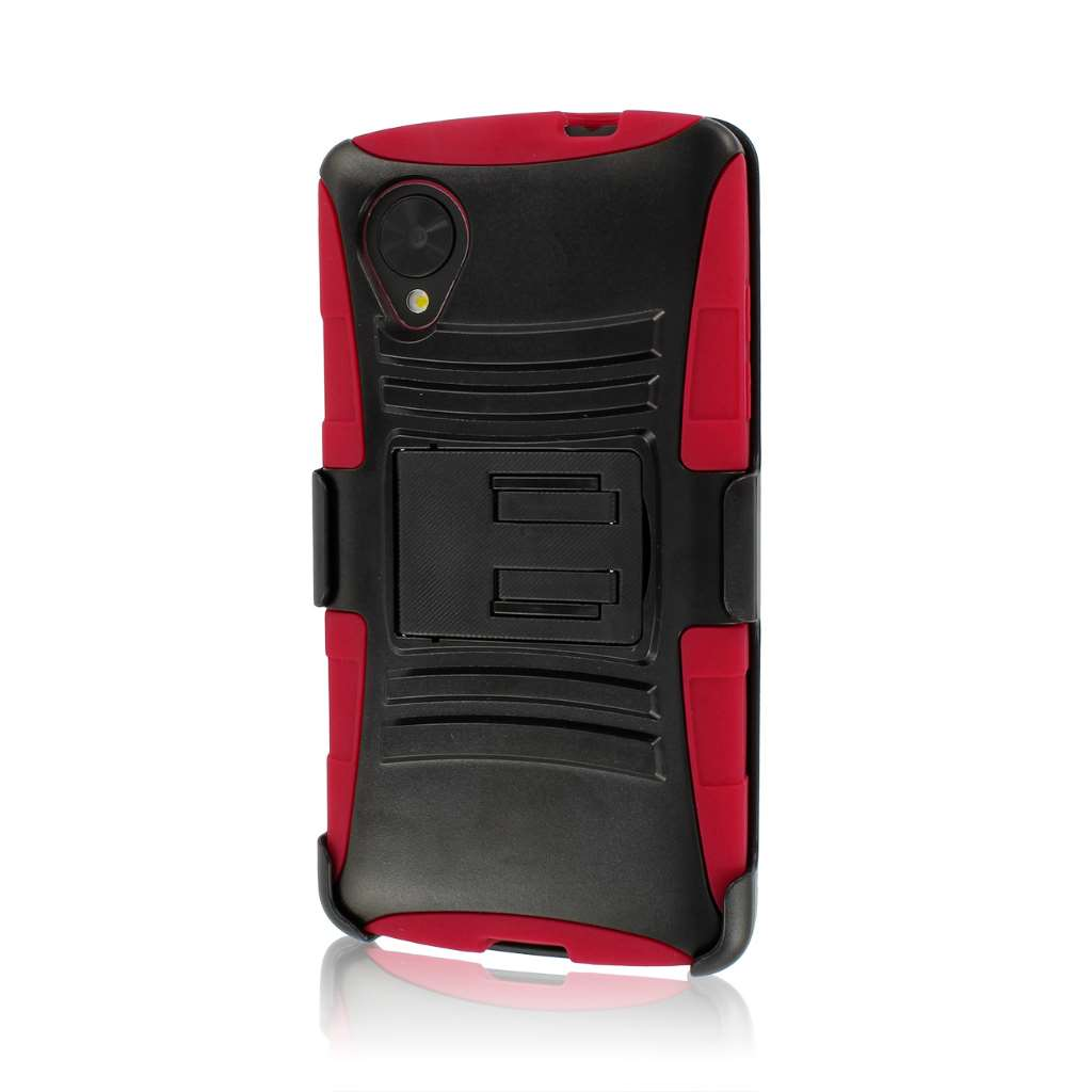 Google Nexus 5 - Red MPERO IMPACT XT - Stand Case Belt Clip Holster