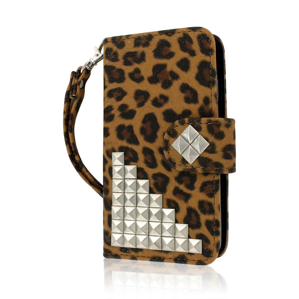 LG Volt - Studded Leopard MPERO FLEX FLIP Wallet Case Cover
