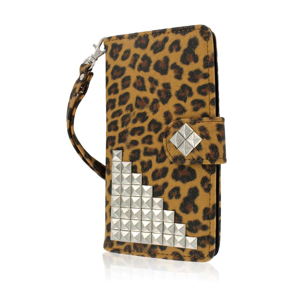 OnePlus One - Studded Leopard MPERO FLEX FLIP Wallet Case Cover