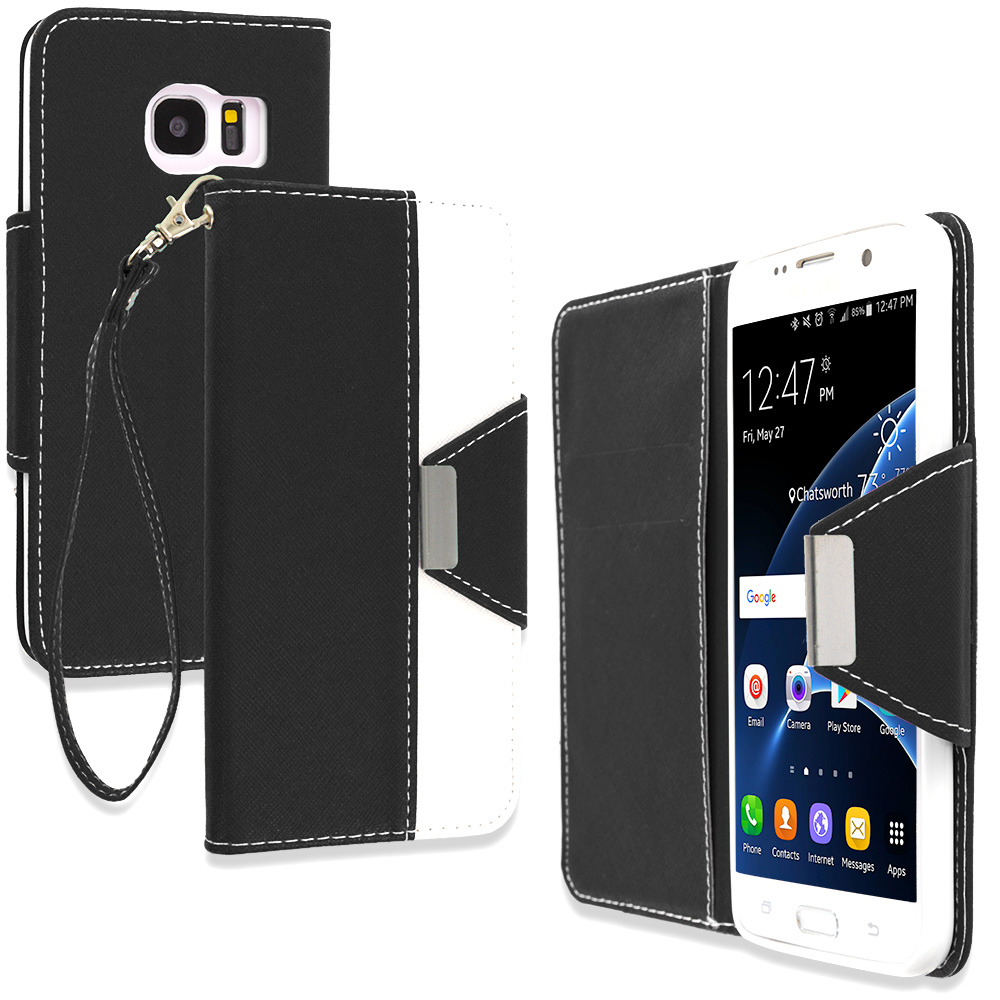 Samsung Galaxy S7 Edge Black Wallet Magnetic Metal Flap Case Cover With Card Slots