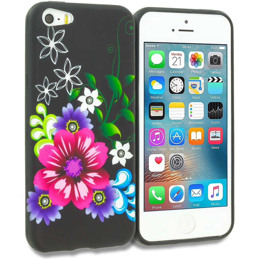 Apple iPhone 5/5S/SE Flowers on Black TPU Design Soft Rubber Case Cover