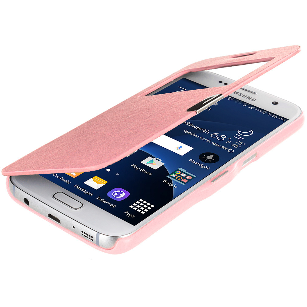 Samsung Galaxy S7 Combo Pack : White With Window Magnetic Flip Wallet Case Cover Pouch : Color Light Pink Window