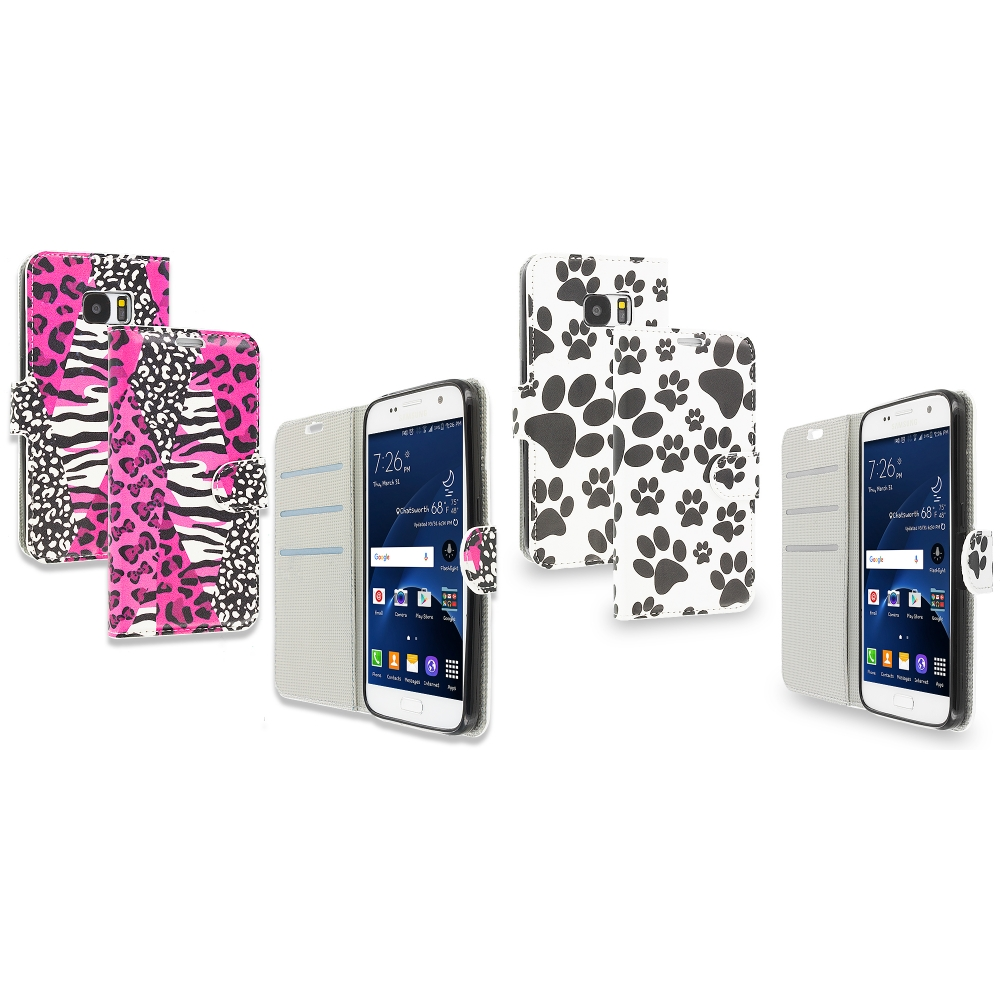 Samsung Galaxy S7 Combo Pack : Bowknot Zebra Design Wallet Flip Pouch Case Cover with Credit Card ID Slots