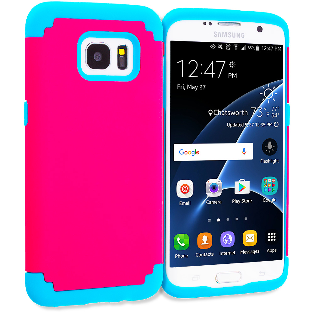 Samsung Galaxy S7 Edge Hot Pink / Baby Blue Hybrid Slim Hard Soft Rubber Impact Protector Case Cover