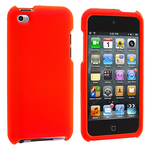 Apple iPod Touch 4th Generation Orange Hard Rubberized Case Cover
