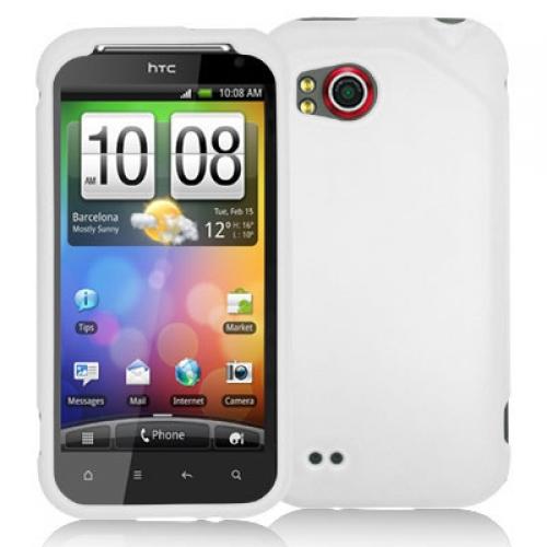 HTC Rezound 4G White Hard Rubberized Case Cover
