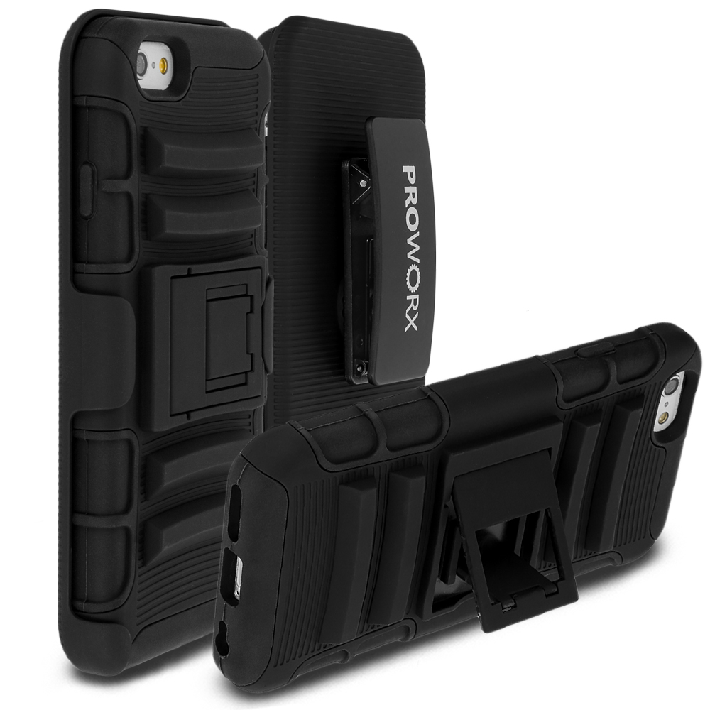 Apple iPhone 6 6S (4.7) ProWorx Black Heavy Duty Shock Absorption Armor Defender Case Cover With Belt Clip Holster