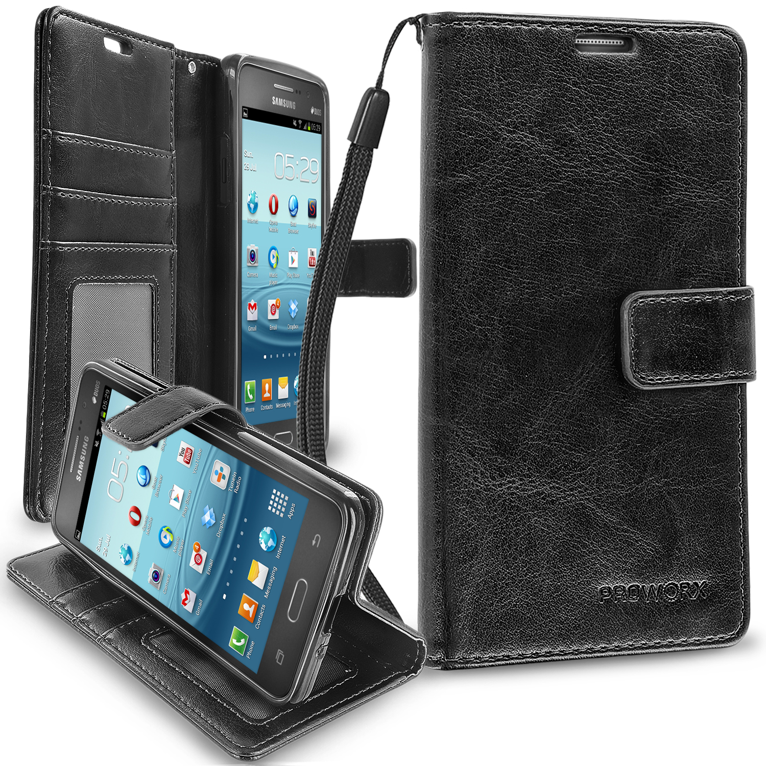 Samsung Galaxy Grand Prime LTE G530 Black ProWorx Wallet Case Luxury PU Leather Case Cover With Card Slots & Stand