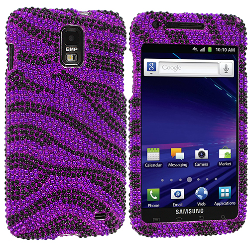 Samsung Skyrocket i727 Black / Purple Zebra Bling Rhinestone Case Cover