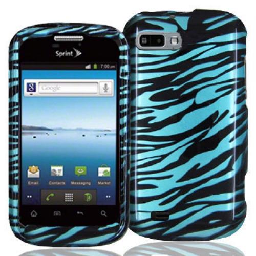 ZTE Fury N850 Black / Baby Blue Zebra Design Crystal Hard Case Cover