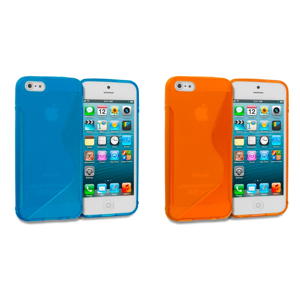 Apple iPhone 5/5S/SE Combo Pack : Baby Blue S-Line TPU Rubber Skin Case Cover