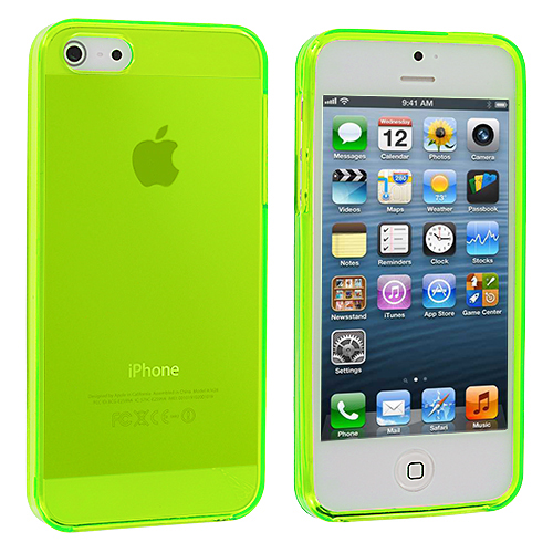 Apple iPhone 5/5S/SE Combo Pack : Neon Green Plain TPU Rubber Skin Case Cover : Color Neon Green Plain