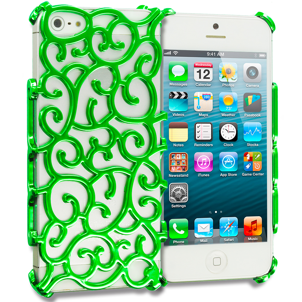 Apple iPhone 5/5S/SE Green Floral Crystal Hard Back Cover Case