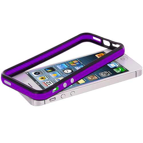 Apple iPhone 5/5S/SE Black / Purple TPU Bumper with Metal Buttons